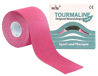 Nasara Tourmaline Kinesiology Tape, 5 cm x 5 m, růžový