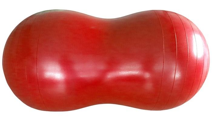 Cvičební gymnastický míč MAMBO Max, burák, 100 x 50 cm, červený s pumpičkou