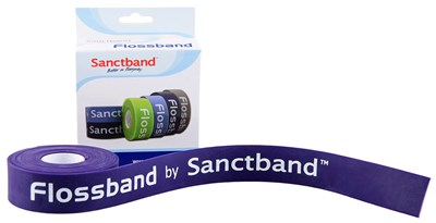 Kompresní guma Flossband by Sanctband, 2,5 cm x 2 m, švestka, silná