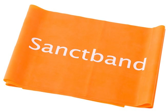 Cvičební guma Sanctband, 1,5 m, pomeranč, středně silná
