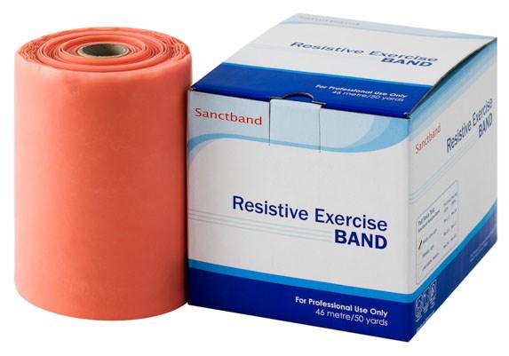 Cvičební guma Sanctband, 45,5 m, broskev, slabá