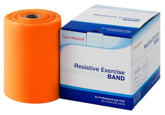 Cvičební guma Sanctband, 45,5 m, pomeranč, středně silná