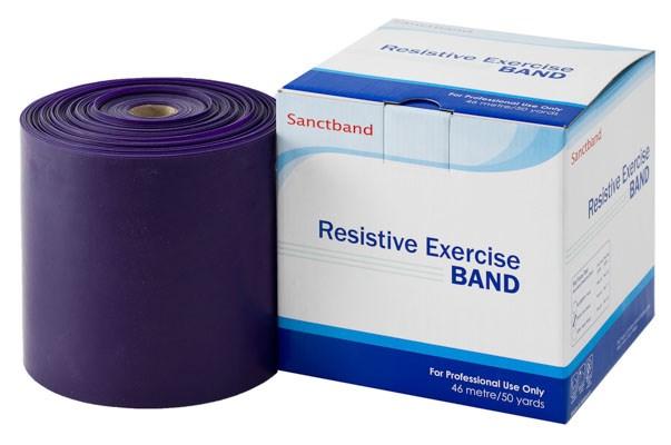 Cvičební guma Sanctband, 45,5 m, švestka, extra silná