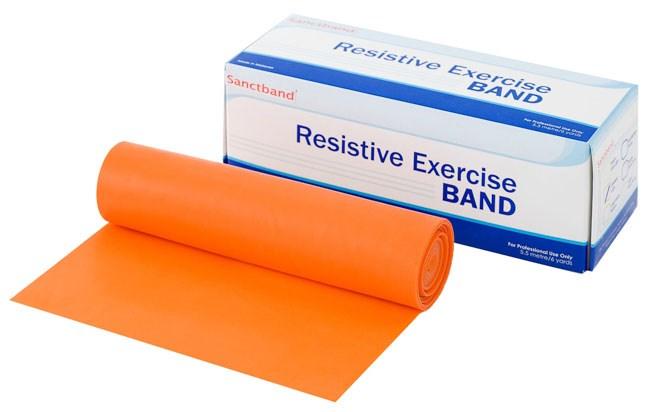 Cvičební guma Sanctband, 5,5 m, pomeranč, středně silná