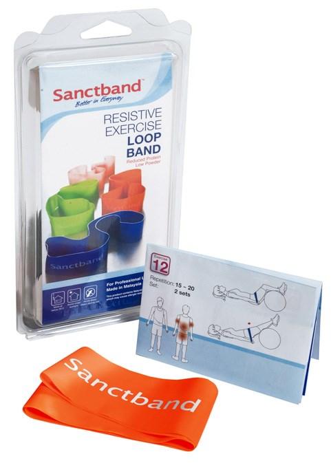 Cvičební guma Sanctband Loop (smyčka), pomeranč, středně silná
