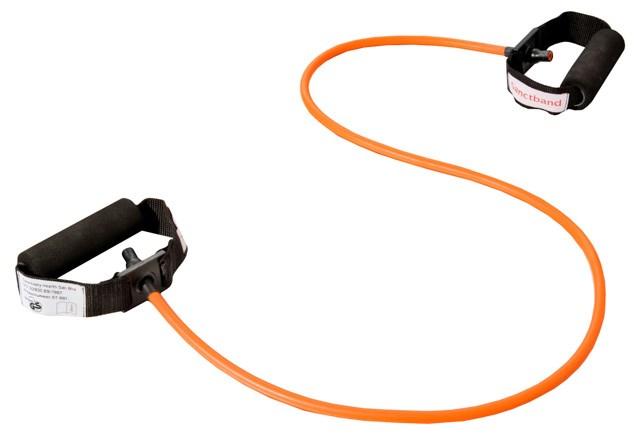 Cvičební guma Sanctband Tubing s madly, pomeranč, středně silná