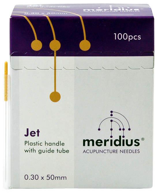 Meridius jednorázové akupunkturní jehly JET se zaváděcí trubičkou, 100 ks
