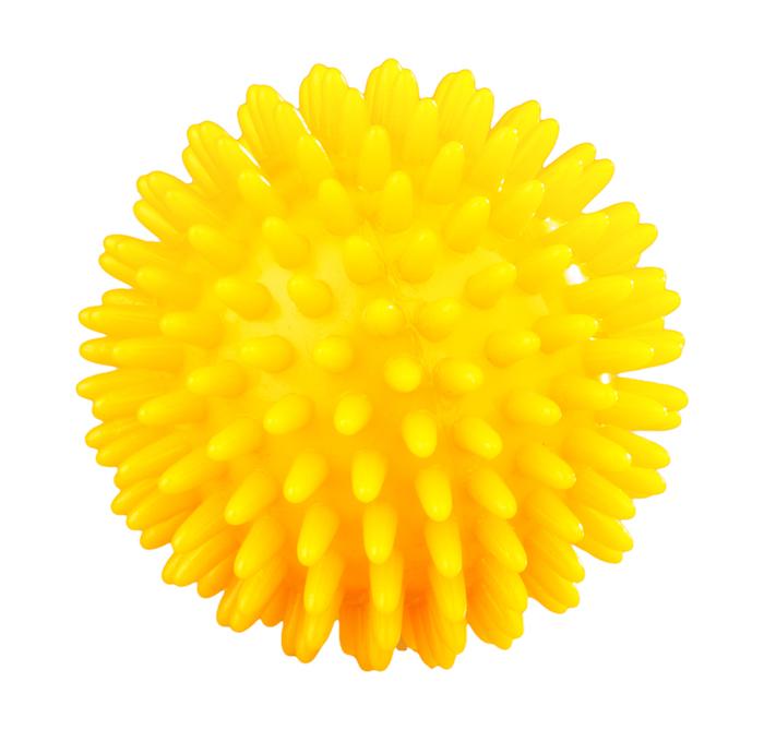 MVS Masážní míček, ježek, tvrdý, 80 mm, žlutý
